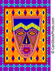 african mask - vector african mask with authentic ornament