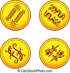 vector coins with animal pairs  in american indians' style
