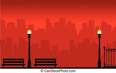 On red background city with street lamp scenery