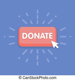 Modern donate button design with mouse click symbol. Vector illustration