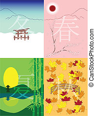 japan seasons - vector season in japanese style