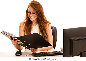 business woman works in the office checking database on computer isolated over white background