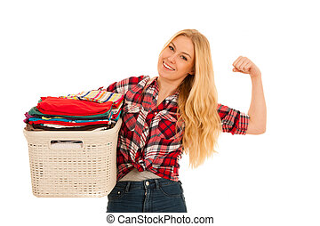 happy young woman with a basket full of laundry isolated over white