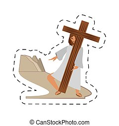 cartoon jesus christ meet virgin mary - via crucis station