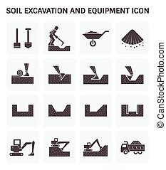 Soil Excavation Icon - Soil excavation and equipment vector...