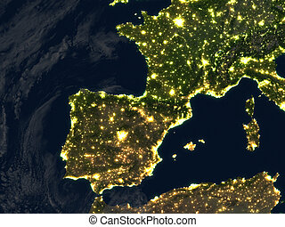 Iberia at night on planet Earth - Iberia at night. 3D...