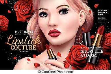 lipstick couture ad with model face and red rose flowers, 3d...