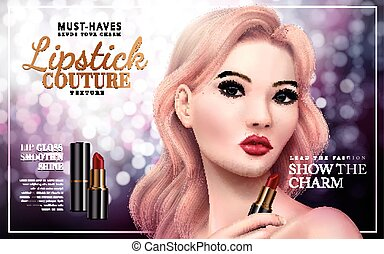 lipstick couture ad with model face, bokeh background 3d...