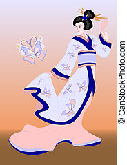 japanese geisha with butterfly - japanese geisha feeding...
