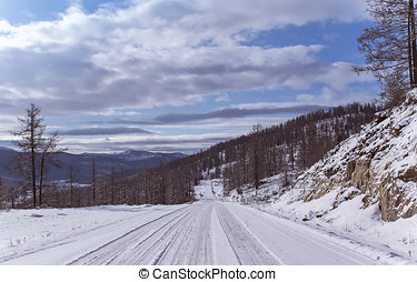 Winter travel on Mountain road