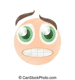 drawing scared emoticon image vector illustration eps 10