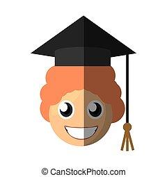 boy graduate emoticon cartoon