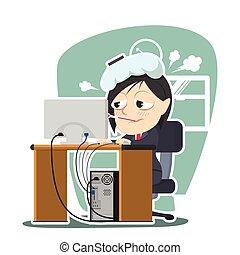 businesswoman got a fever at work