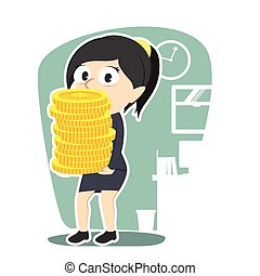 businesswoman holding pile of coins