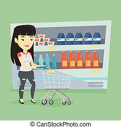 Customer with shopping cart vector illustration. - Asian...