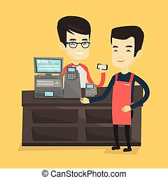 Customer paying wireless with smartphone. - Man paying...
