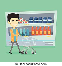 Customer with shopping cart vector illustration. - Asian man...