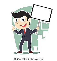 businessman holding board sign