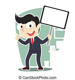 businessman holding board sign