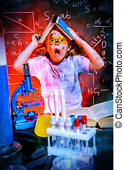 discovery process - Funny little girl doing experiments in...