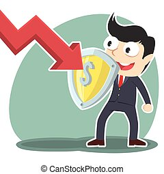businessman blocking down graph with shield