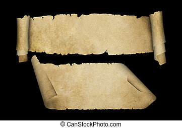 Antique parchment scrolls on black background.