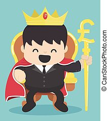 King of businessman with silver pound symbol