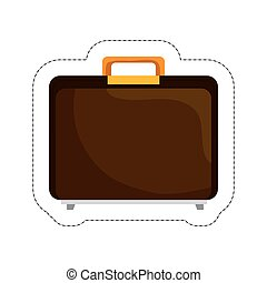 business briefcase icon over white background. vector...