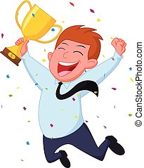 Happy Businessman with trophy and confetti - vector...