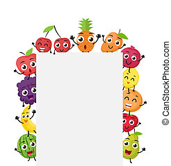 Various fruits cartoon with blank sign - illustration of...