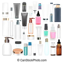 set of a real cosmetic tube and bottle