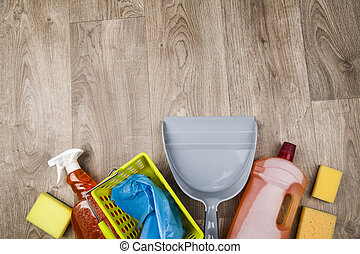 House cleaning product on wood table - Assorted cleaning...