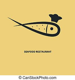 Fish in a chefs hat - Logo seafood restaurant. Fish in a...