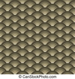 Round dim Japanese ornament. Seamless pattern scales....