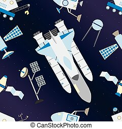 Shuttle, satellites, moon rover and deep space with stars pattern.