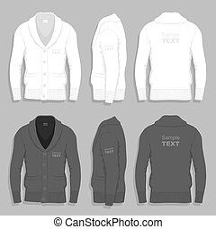 Men cardigan design template - Set of black and white...
