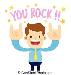 Businessman With Rock Hand Sign Saying You Rock - Vector...
