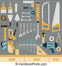 Tools on peg board - Set of tools hanging on peg board wall...