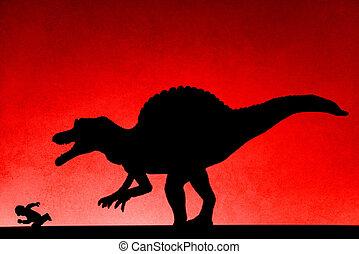 Perseguir, no, pared, Marca registrada, spinosaurus, humano,...