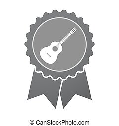 Isolated badge with  a six string acoustic guitar