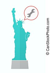 Isolated Statue of Liberty with a wrench - Illustration of...