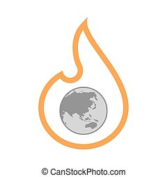 Isolated flame with  an Asia Pacific world globe map