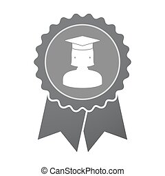 Isolated badge with a female graduated student -...