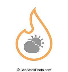 Isolated flame with  the Sun shining behind a cloud