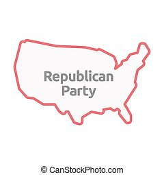 Isolated USA map with the text Republican Party -...