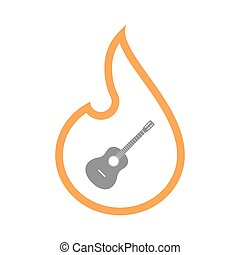 Isolated flame with a six string acoustic guitar -...