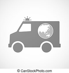 Isolated ambulance with  an Asia Pacific world globe map