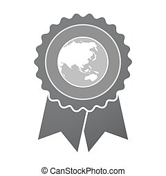 Isolated badge with  an Asia Pacific world globe map