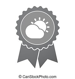 Isolated badge with  the Sun shining behind a cloud