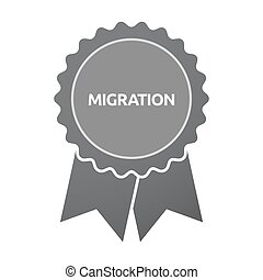 Isolated badge with the text MIGRATION - Illustration of an...